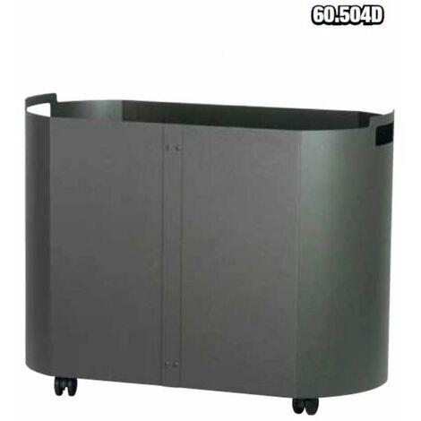 Carrello portalegna in metallo colore antracite cm. 59x35x43