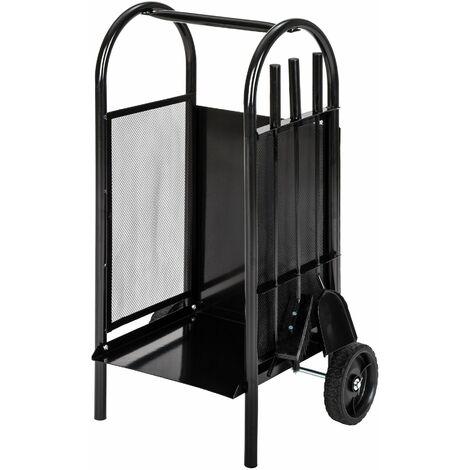 carrello portalegna per camino con paletta, attizatoio e scopa - carrello legna, carrello per legna - nero - negro