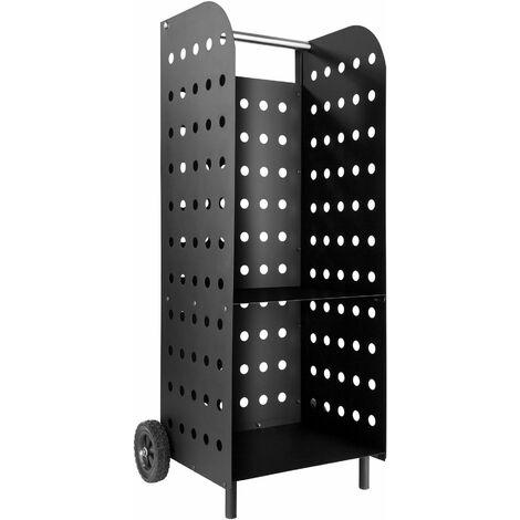 carrello portalegna per camino, modello 2 - carrello legna, carrello per legna - nero - negro
