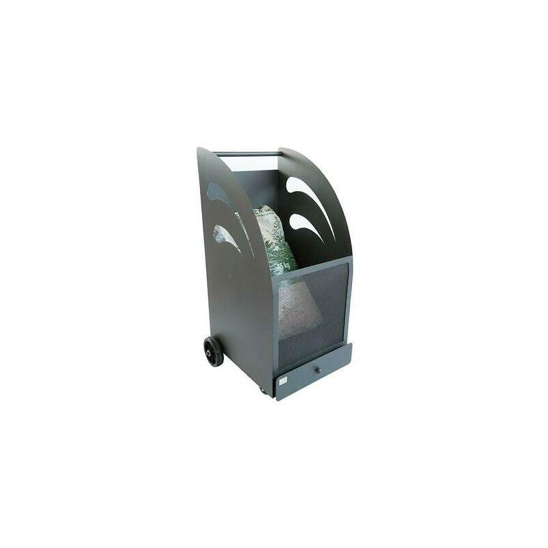 Cruccolini Carrello portapellet pellet in ferro battuto carrelli porta pellets 45x42x80h