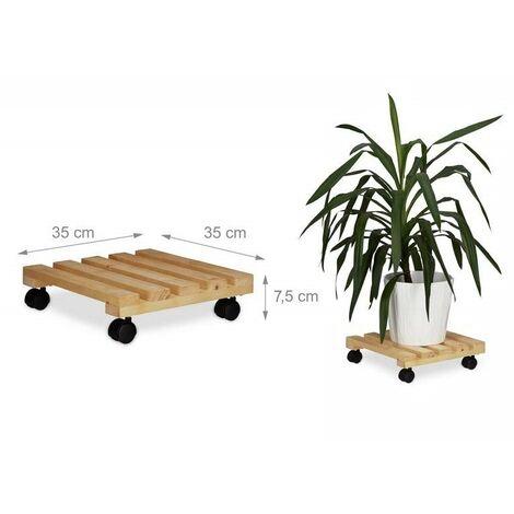 Carrello portatutto/portavaso con ruote in legno naturale 35x35cm