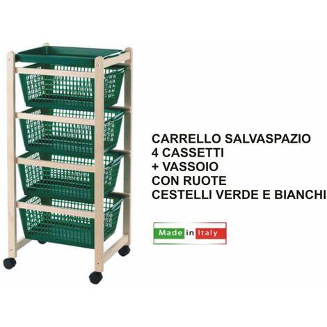 CARRELLO SALVASPAZIO LEGNO FAGGIO NATURALE CASS. B.CO-VERDE