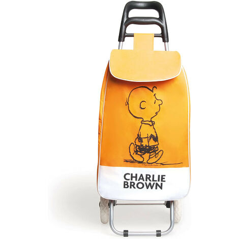 Carrello Spesa Peanuts Charlie Brown in Tessuto Arancio 90x34x4 Cm