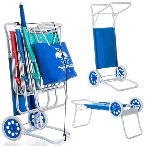 Carrello Trolley Portasedie Trasformabile in Tavolino per Spiaggia Campeggio