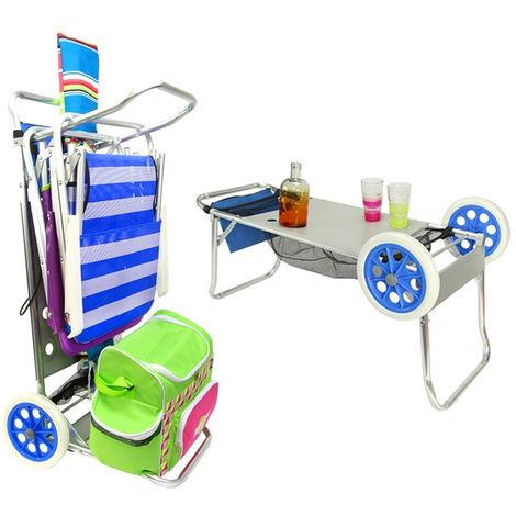 Carrello Porta Sdraio Per Spiaggia.Carrello Trolley Sedia Porta Sedie Trasformabile In Tavolino