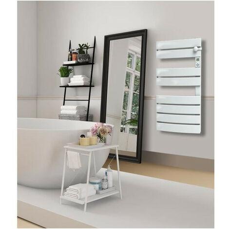 CARRERA 600 + Soufflerie 1000 watts Radiateur Seche Serviettes électrique - Programmable - LCD - Barres plates asymétriques