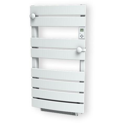 Carrera radiateur sèche-serviette 600W + soufflerie 1000W (1600W) cintré lames plates blanc LCD