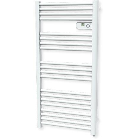 Carrera radiateur sèche-serviette 750W tubes ronds blanc LCD