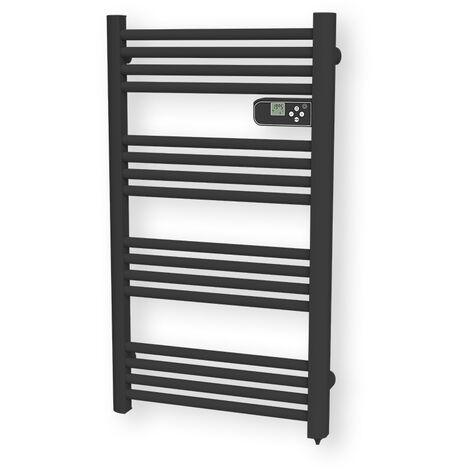 Carrera sèche-serviette électrique noir mat 500W LCD tubes ronds - Noir mat