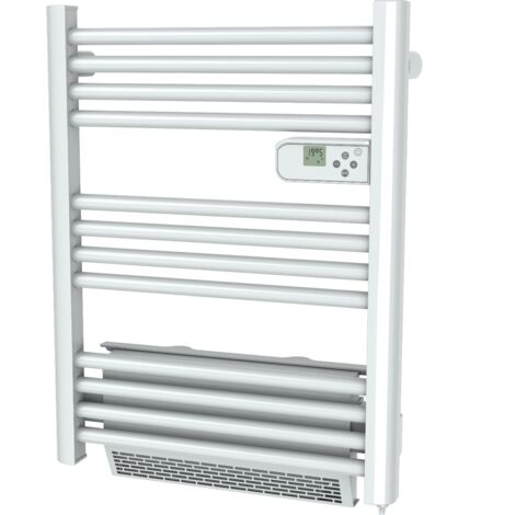 "main image of ""Cayenne radiateur sÞche-serviette 500W + soufflerie 1000W (1500W) mini tubes ronds blanc LCD - Blanc"""