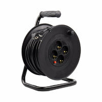 Carrete Alargador de Cable 25m Liso Negro