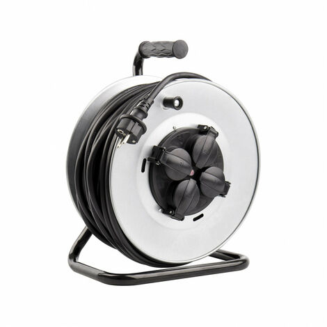 Carrete Alargador de Cable 50m 3x1.5mm IP44 Gris