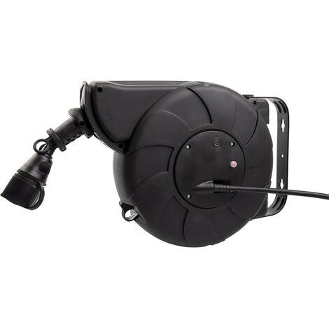 Carrete de Cable Rebobinado Automático 11m + 2m IP44 para Pared Negro