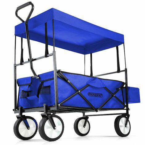 Carretilla Carrito de transporte Carretilla plegable con techo rojo o azul transporte jardín Azul