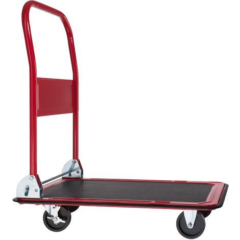 Carretilla con frenos - transpaleta con pedal de accionamiento, carretilla de acero con ruedas y ajuste en cinturón, carretilla manual para mudanzas