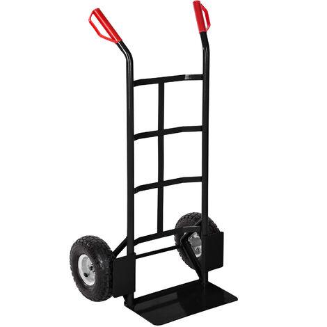 Carretilla con ruedas - transpaleta con pala para jardín, carretilla de acero con ruedas neumáticas, carretilla manual para mudanzas