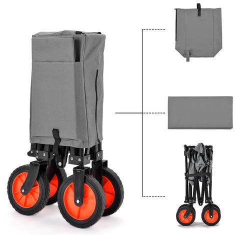 Carretilla de mano Homme al aire libre plegable, carretilla de mano plegable con ruedas de goma, asa telescópica, maletín de transporte gratuito, capacidad de peso 150 kg (gris)