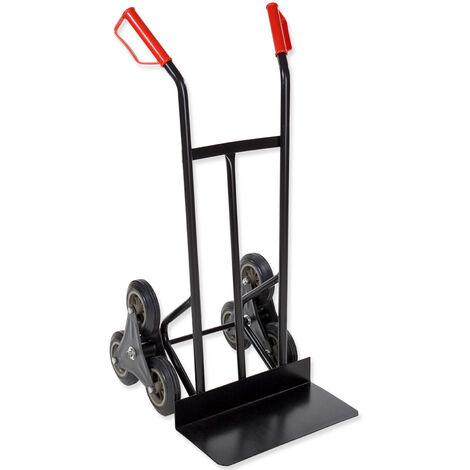 Carretilla especial escaleras de acero de hasta 150kg - carretilla sube escaleras, carretilla de acero con triple rueda de goma, carretilla manual para mudanzas - negro