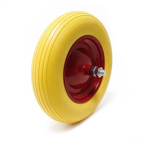 Carretilla rueda de poliuretano 4.00-8 goma maciza con eje de insercción, a prueba de pinchazos