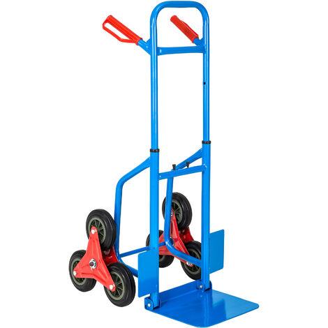 Carretilla sube escaleras hasta 100kg - transpaleta con pala para bordillos, carretilla de acero con triple rueda de goma, carretilla manual para mudanzas - azul