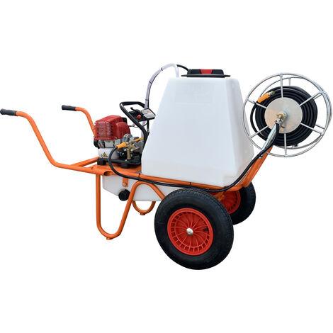 Carretilla Sulfatadora Motor a Gasolina 2 Tiempos y Capacidad 100 litros, Con 2 Ruedas y Carrete- Bricoferr