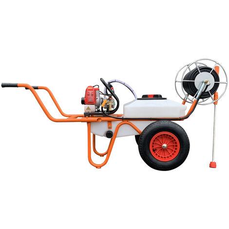 Carretilla Sulfatadora Motor a Gasolina 2 Tiempos y Capacidad 50 Litros - Bricoferr
