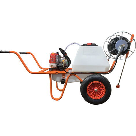 Carretilla Sulfatadora Motor a Gasolina 2 Tiempos y Capacidad 80 Litros - Bricoferr