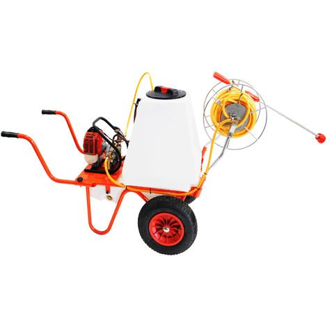 Carretilla Sulfatadora Motor a Gasolina 4 Tiempos y Capacidad 100 litros , Con 2 Ruedas e Carrete - Bricoferr