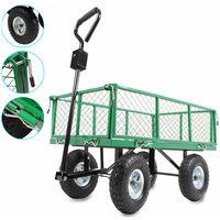Carretto carrello rimorchio in ferro rimorchio per trasporto da giardino 200kg
