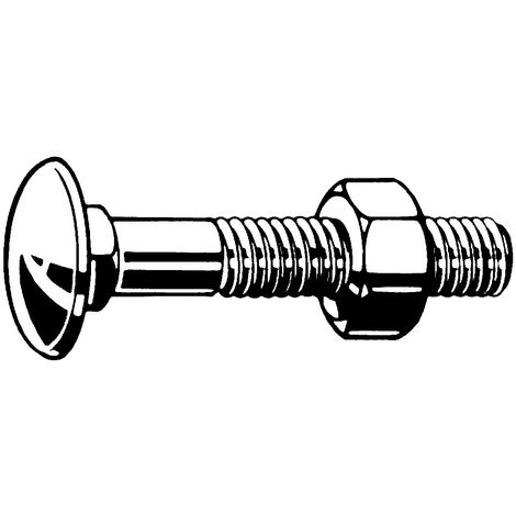 Carriage bolt with hexagon nut DIN 603/555 Steel Hot dip galvanized 4.6