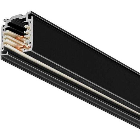 Carril trifásico con conector, 2 metros, negro