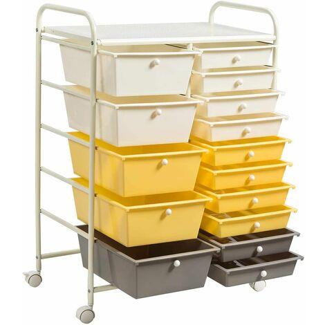 Carrito Auxiliar Almacenamiento con Ruedas Estructura Metálica,Carro Organizador con 15 Cajones Apilables para Cocina Restaurante Amarillo