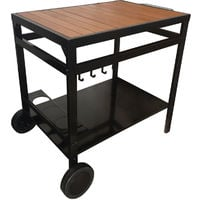 Carrito-bar de exterior para plancha de acero - mesa auxiliar dos niveles, bandeja superior de madera con porta-botellas y porta-utensilios - Negro y Madera