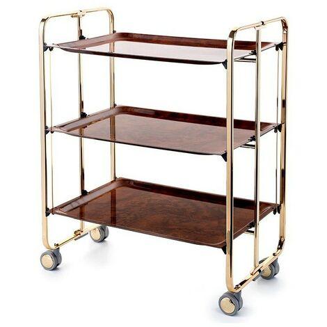 Carrito camarera BAUHAUS, armazón con baño de oro. Máxima calidad en el acabado. 3 bandejas. 0000-00-00 00:00:00 Raiz