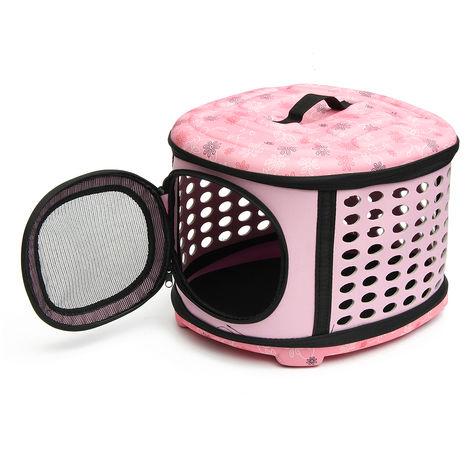 Carrito Carrier Pet Dog Travel Bolso plegable rosa