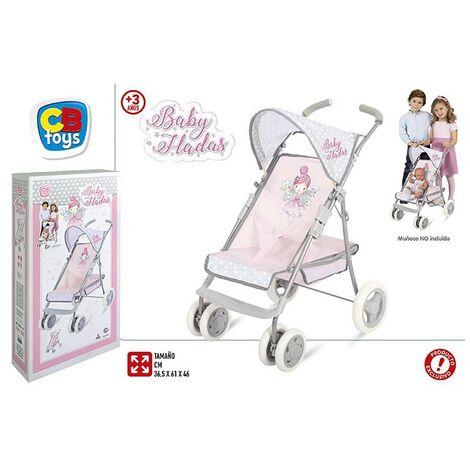 Carrito/Cochecito de Muñecas de color Rosa para Niños. Diseño de Hadas, con estilo Infantil (29,5cm X 13cm X 55cm) - Hogar y Más