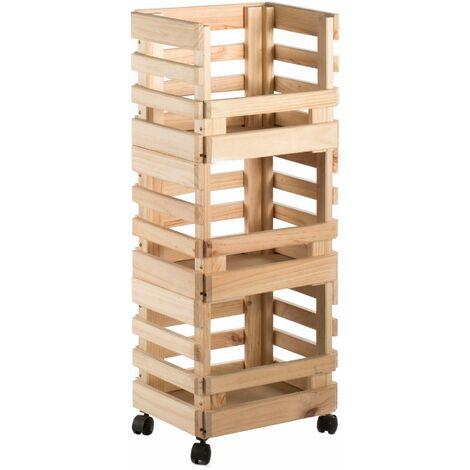 Carrito con tres cajas apilables de madera de pino (90x38x30cm) con ruedas
