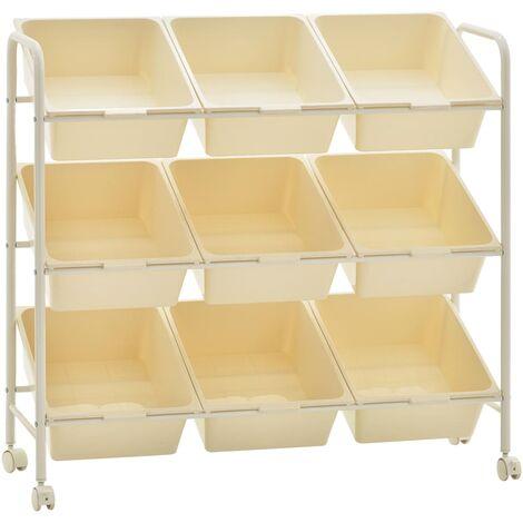 Carrito de almacenaje de juguetes 9 cestas plastico blanco