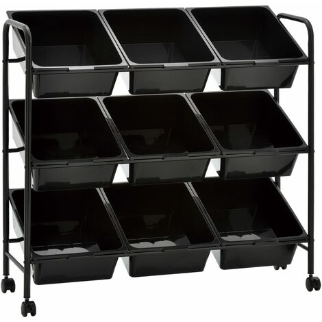 Carrito de almacenaje de juguetes 9 cestas plastico negro