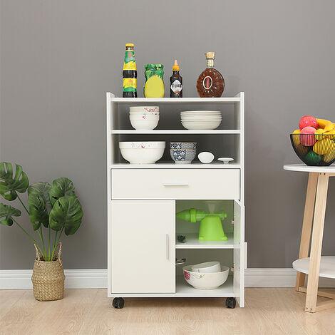 Carrito de cocina multiusos moderno con puerta de cajón de ruedas en madera de roble, blanco