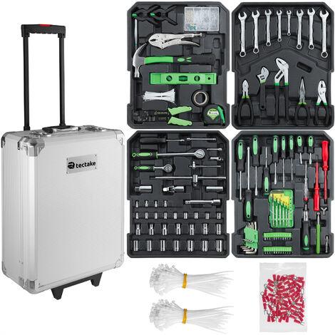 Carrito de herramientas Martin - trolley con bandejas para uso profesional, caja de herramientas con ruedas y asa telescópica, maletín para trabajo en taller con herramientas - plata