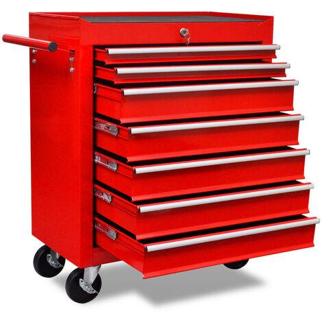 Carrito de herramientas rojo de 7 cajones