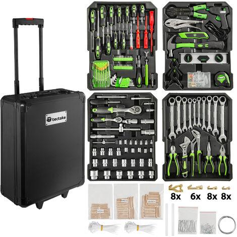 Carrito de herramientas Stefan - trolley con bandejas para uso profesional, caja de herramientas con ruedas y asa telescópica, maletín para trabajo en taller con herramientas - negro