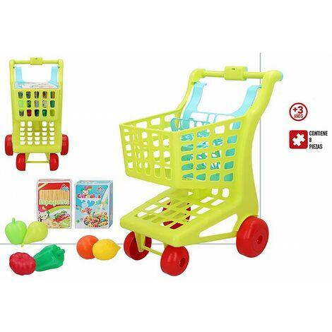 Carrito De La Compra Juguete Niños, con 8 piezas. Diseño Colorido, con estilo Infantil, Juguetes Infantiles. 29cm X 35cm X 50cm