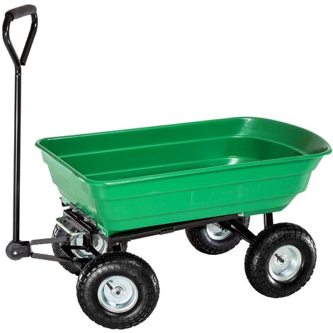 Carrito de mano con cubeta de plástico basculante máx. 300 kg - carretilla de mano para jardín, carro con mango para transporte manual, carretilla de transporte de metal - verde