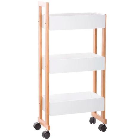 Carrito de MDF/bambú 3 estantes baño
