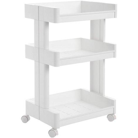Carrito de plástico con 3 niveles Estantería con ruedas PP Organizador para  cocina y baño Almacenamiento Blanco KSC01WT 93b2ae25509a