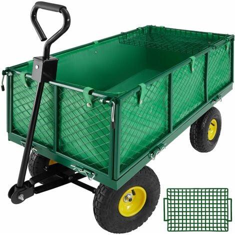 Carrito de transporte con bandeja máx. 550kg - carretilla de mano para jardín, carro con palanca para transporte manual, carretilla de transporte de metal con cajón - verde