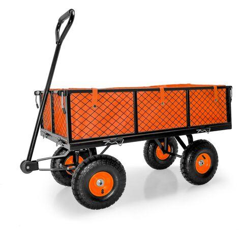 Carrito de transporte con fondo interior y enganche para remolque máximo 350 kg, vagón de mango para el transporte manual, carro de transporte de metal.