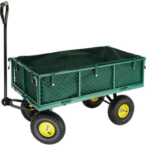 Carrito de transporte con funda interior + enganche para remolque máx. 350 kg - carretilla de mano para jardín, carro con mango para transporte manual, carretilla de transporte de metal - verde